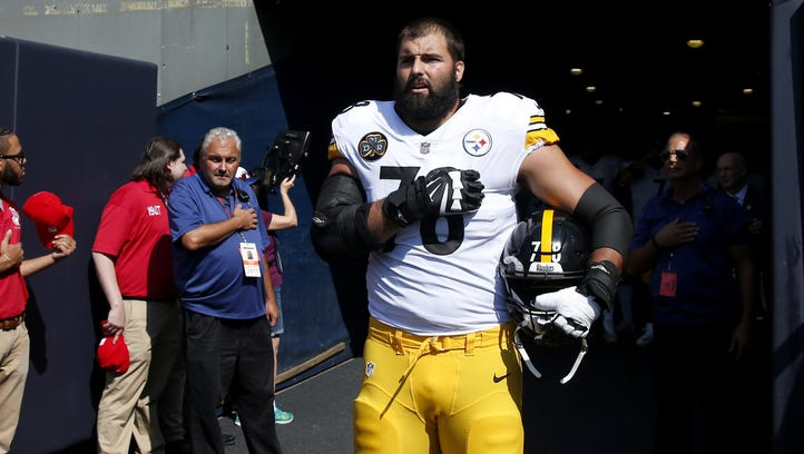 Alejandro Villanueva of the Pittsburgh Steelers stands