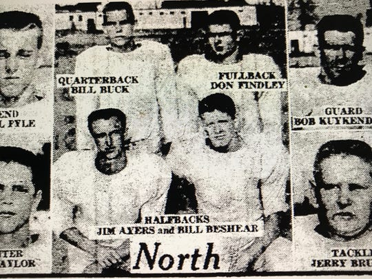 Members of the North High football team from 1957.