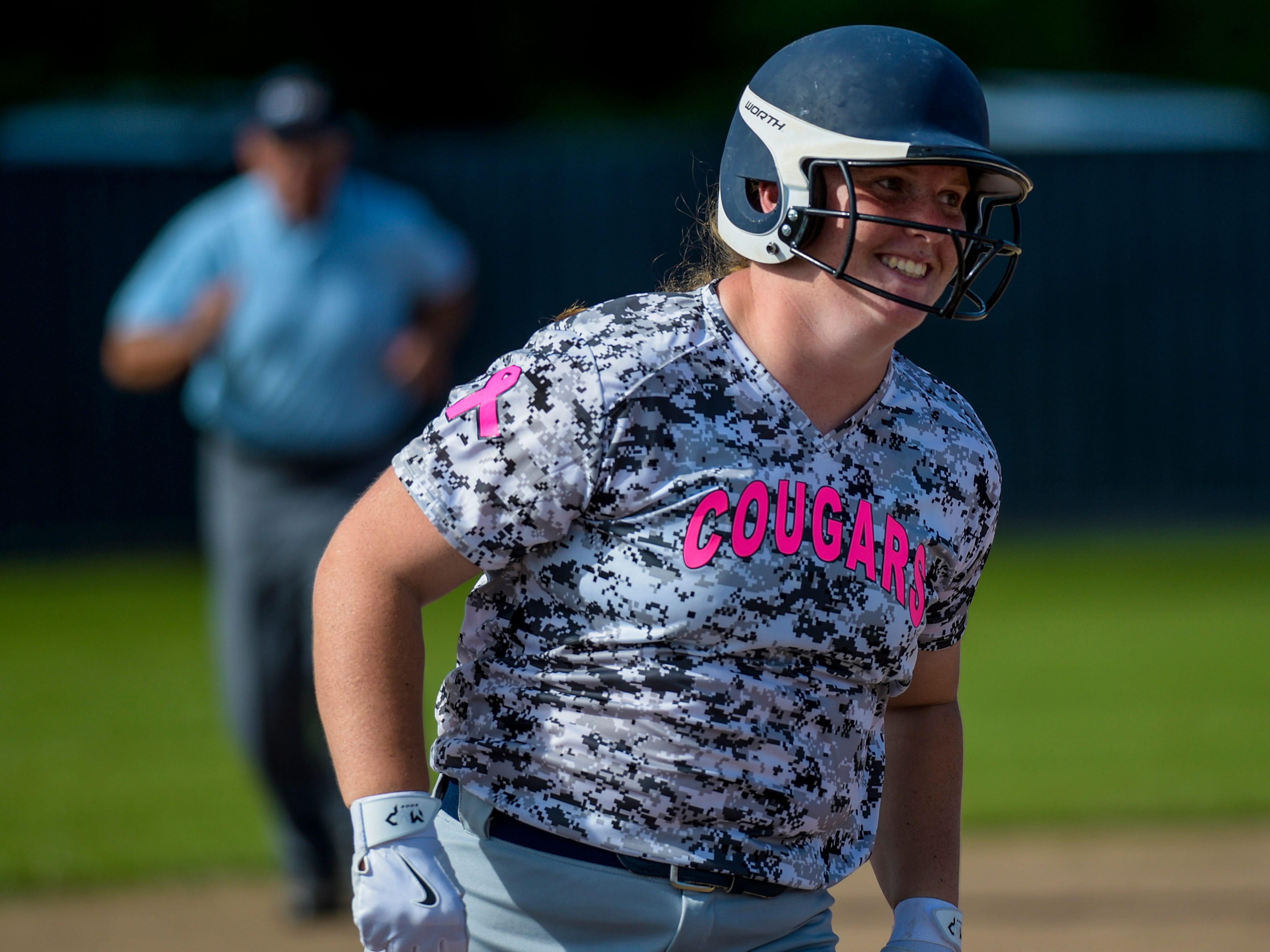 St. Thomas More catcher Bailey Hemphill (16) is hoping to carry the Lady Cougars to another state tournament trip.