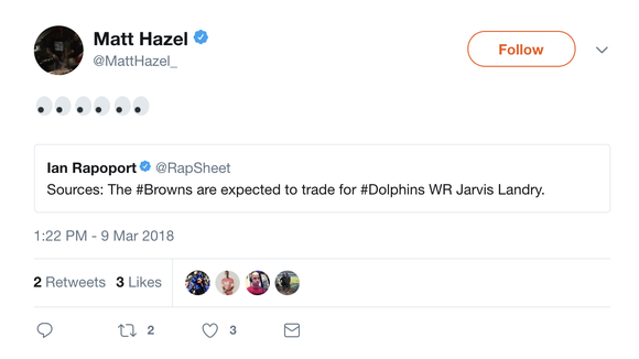 Browns players react to trades with shock and happiness on Twitter