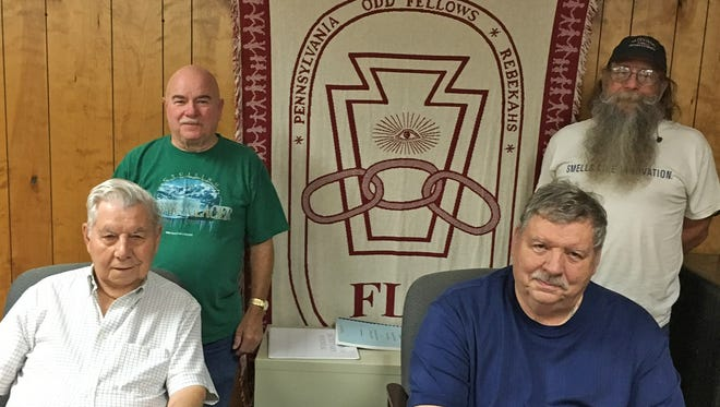 Four members of the Mt. Zion 74 Lodge, International Order of Odd Fellows, at the Lodge hall in West York. Seated (from left): Wayne Fair and Jerry Seyler. Standing (from left) Clark Ruppert and Tim Musser.