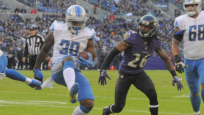 Lions rookie running back Tion Green has seen action the past four games, and should Sunday, as well.