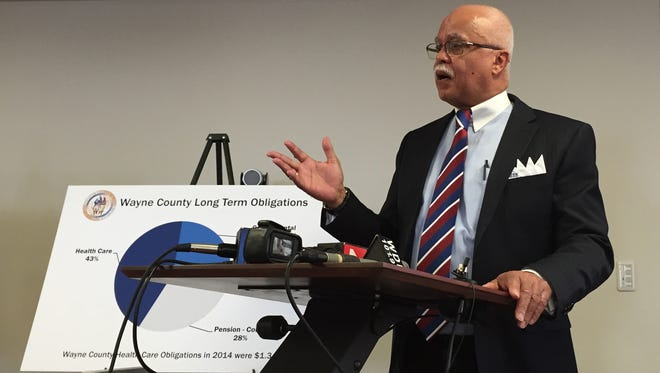 """During a press conference at the Guardian Building in Detroit Monday, Wayne County Executive Warren Evans lays out his """"recovery plan"""" to fix Wayne County finances."""