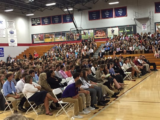 Middle Tennessee students fill the gym at Cumberland University to hear arguments before the Tennessee Supreme Court on Wednesday.