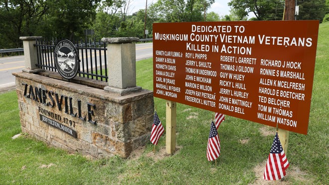 A sign honoring the Muskingum County Vietnam Veterans killed in action was dedicated on Saturday. The sign is beside Wayne Avenue.
