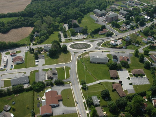 The roundabout in Spring Grove, York County, was built