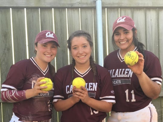 Calallen softball players Nichole Olive, from left, Adriana Lopez and Brianna Ortiz each hit home runs in the same tournament game last weekend in the Houston area.