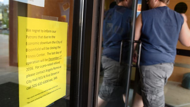 A sign outside the city of Bloomfield's Fitness Center notifies visitors that the center is scheduled to close Dec. 1.