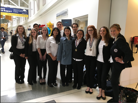 At the HOSA competitions for Newark Charter were, from left, back row, Rohit Dharmadhikari, Hayden Harach andJustin Ducan; front row, Olivia Skaug, Madison Soyer, Caroline Hall, Ankita Prasad, Minwei Lin, Kun Qian, Paige Hundley, Lily Peterson and Riley Young.