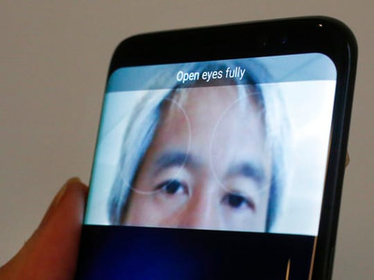The iris scanner function of the Samsung Galaxy S8 is displayed, Monday, April 17, 2017, in New York. The S8's iris scanner lets you unlock the phone by looking at it, but you have to swipe the screen first and position it from your face at just the right distance.