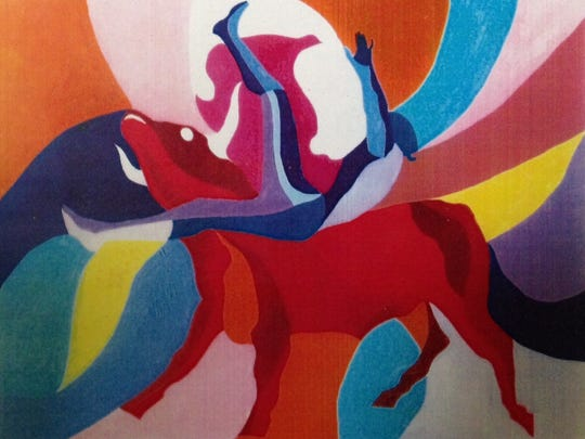 """This painting by Paul Brewer, acrylic on canvas, is entitled """"Bullfight."""""""