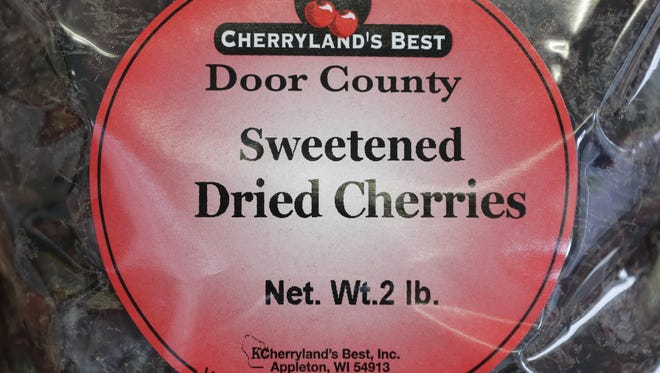 Sweetened dried cherries label at Cherryland's Best  in Little Chute.