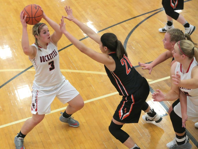 Buckeye Central's Jenna Karl moves the ball during