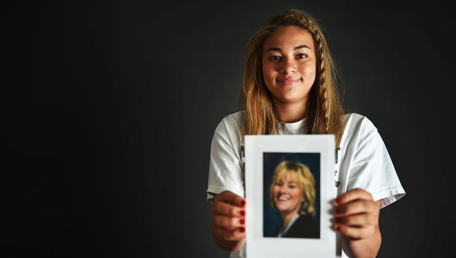 RC Stevens' Kyah Watson talks about her mom, Carla Allard-Watson, Friday, May 4, in Sioux Falls. Kyah's mom had been battling cancer most of Kyah's life. Through this battle Kyah has remained a steady player and teammate in volleyball, basketball, and track and field. Late this fall/ early winter the persistence of the cancer brought a finality and reality to Kyah's world. Her mother had always been her advocate, coach, and friend.