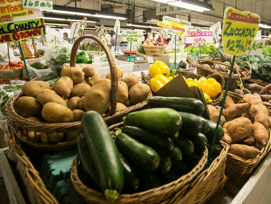 An array of produce sits at Brogue Hydroponics Friday,