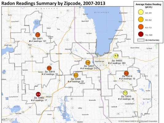 Fond Du Lac Zip Code Map.Radon Test Kits Available