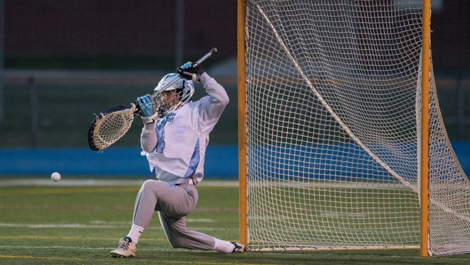 Cape Henlopen's Brendan Kane (4), shown here against Appoquinimink earlier this season, made 11 saves in the Vikings' 11-9 playoff win over Archmere on Saturday.