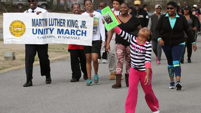 Residents walk in the Unity March on Martin Luther King Jr. Day in Gallatin, TN on Mon. Jan. 16, 2017.