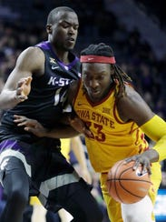 Iowa State forward Solomon Young (33) drives on Kansas