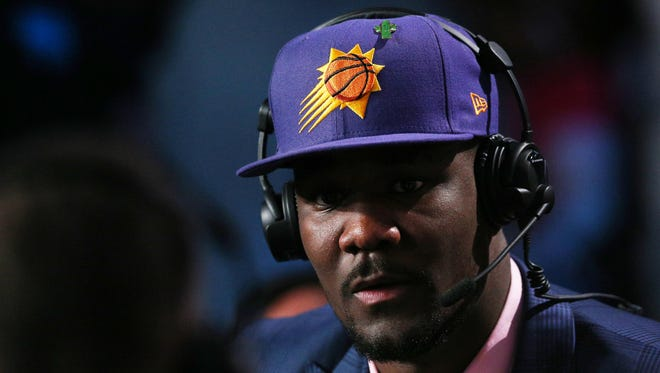 Deandre Ayton of Arizona is interviewed after being selected as the No. 1 overall pick by the Phoenix Suns in the 2018 NBA draft in Brooklyn.