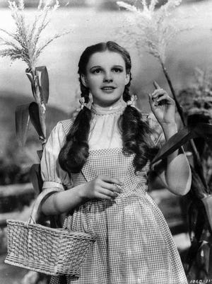 "Actress Judy Garland portrays Dorothy in ""The Wizard of Oz."""