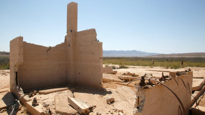 The ruins of the Hannig Ice Cream Parlor stand in St. Thomas, Nevada, a ghost town that was abandoned when the waters of Lake Mead covered the town in 1938.