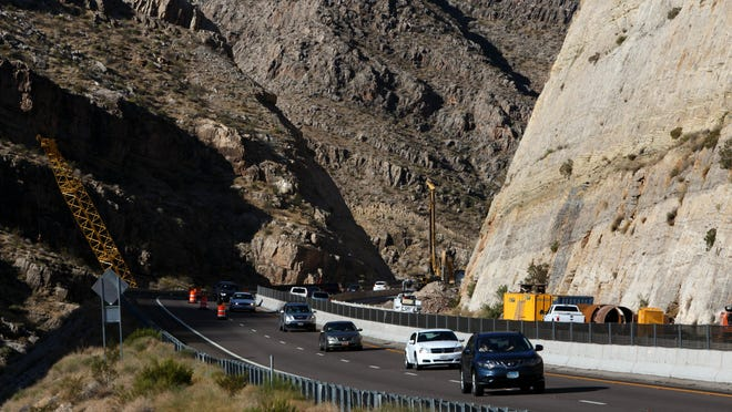 Traffic flows through the construction area in the Virgin River Gorge as work