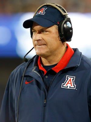 Arizona head coach Rich Rodriguez during the first half of an NCAA college football game against Utah, Saturday, Nov. 14, 2015, in Tucson, Ariz.