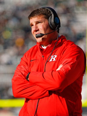 Rutgers coach Chris Ash watches the action during the fourth quarter of an NCAA college football game against Michigan State, Saturday, Nov. 12, 2016, in East Lansing, Mich. Michigan State won 49-0. (AP Photo/Al Goldis)