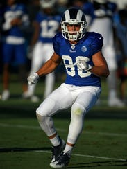 Los Angeles Rams receiver Nelson Spruce runs a play