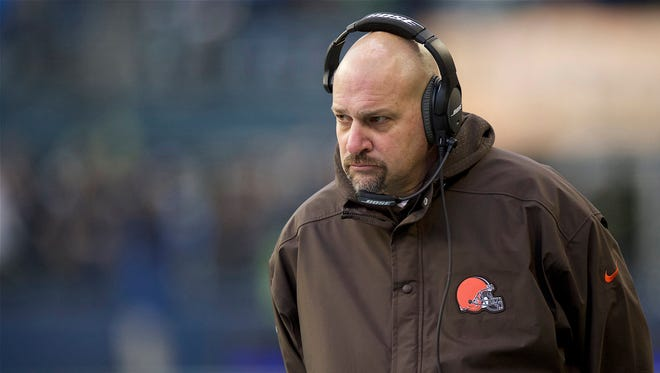Cleveland Browns head coach Mike Pettine watches from the sidelines during a game against the Seattle Seahawks at CenturyLink Field.
