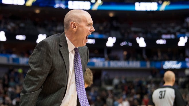 Dallas Mavericks head coach Rick Carlisle yells at the referees during the second half of the game against the Phoenix Suns at the American Airlines Center. the Suns defeat the Mavericks 97-91.