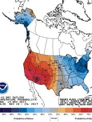 Temperature outlook through November 23, 2017