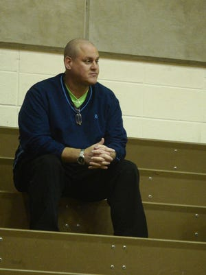Union athletic director Monte Cowen watches game action during Richmond's season-opening girls basketball game against Union at Tiernan Center Tuesday, Nov. 7, 2017.