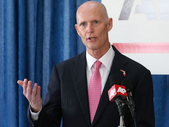 Florida Gov. Rick Scott speaks about his budget proposals during a pre-legislative news conference, Tuesday, Jan. 31, 2017, in Tallahassee. (AP Photo/Steve Cannon)