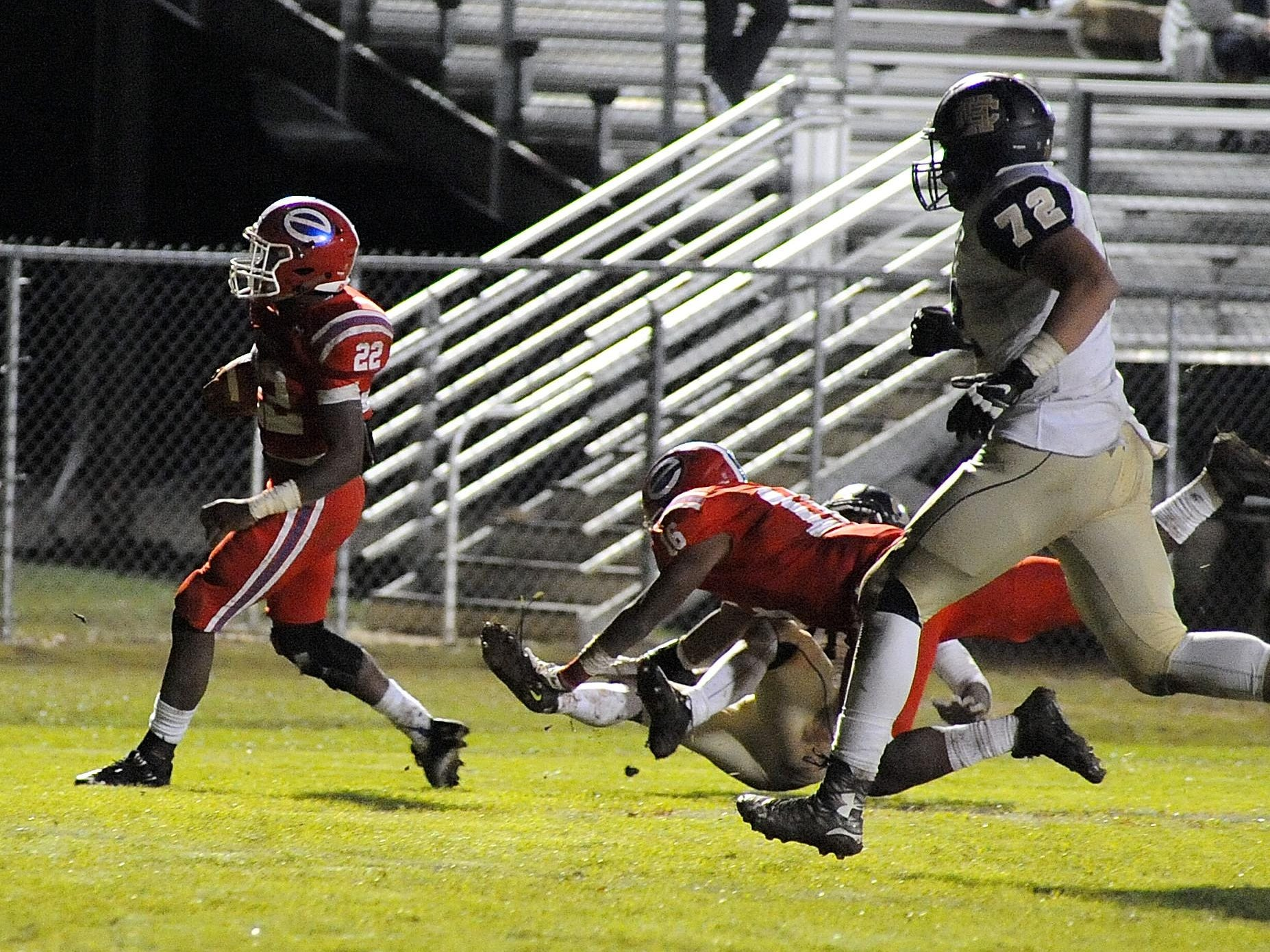 Evangel defensive back Bobby Bell scores on a pick-6 against Holy Cross in last season's LHSAA Division I state playoff contest at Rodney Duron Field.