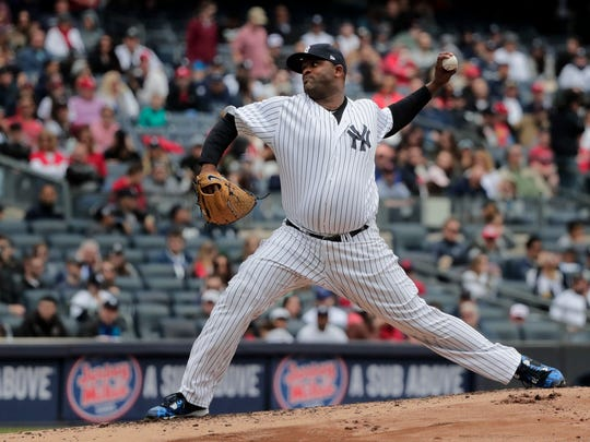 Yankees pitcher CC Sabathia delivers against the St. Louis Cardinals during a game, Saturday, April 15, 2017, in New York. Sabathia was impressive in this outing, with allowing just one run in 7.1 innings, three hits, and six strikeouts in getting the victory as the Yankees beat the Cardinals 3-2.