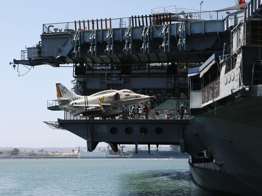 An aircraft on display on the USS Midway aircraft carrier in San Diego.