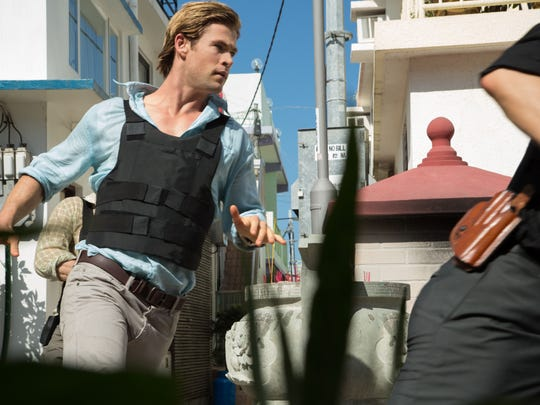 """Chris Hemsworth stars as Nicholas Hathaway in """"Blackhat."""" Set within the world of global cybercrime, """"Blackhat"""" follows a furloughed convict and his American and Chinese partners as they hunt a high-level cybercrime network from Chicago to Jakarta."""