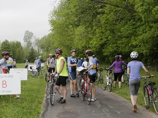 Cyclists prepare to ride Saturday, May 9, 2015 during the Wabash River Cycle Club's annual New Rider Callout. The ride started at Cumberland Park in West Lafayette.