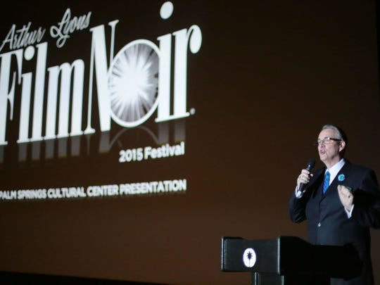 Alan Rode the host and producer of the Arthur Lyons Film Noir Festival speaks during the festival's opening night on Thursday at the Camelot Theatres in Palm Springs.