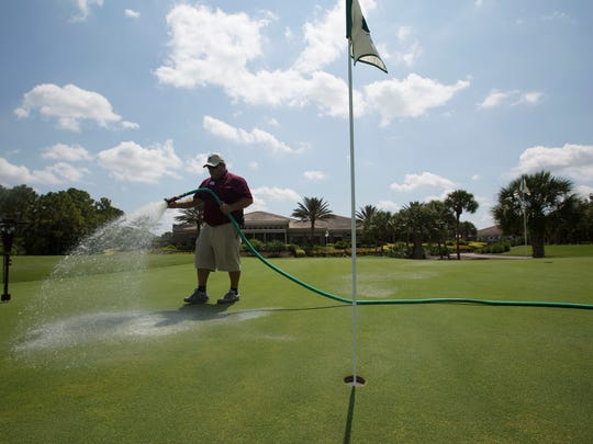 Todd Hoff, the superintendent for the Shadow Wood Country Club Preserve Course in south Fort Myers waters a putting green on Friday 5/22/2015. Shadow Wood is one of many golf course communities in the region.