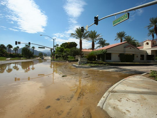 The intersection of Eisenhower and Avenida Mazatlan in La Quinta remained closed a day after a Sept. 8, 2014 storm.
