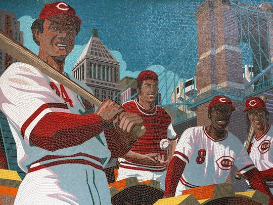 "The ""Great Eight"" mosaic mural at the main entrance of Great American Ball Park celebrates the Big Red Machine."