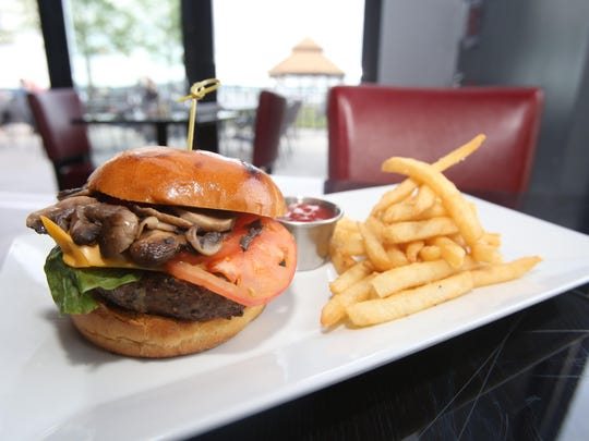 16 Front Street burger and fries, on the casual American menu at the new 16 Front Street restaurant in Haverstraw.