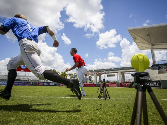 The players ran a timed 60-yard dash at JetBlue Park, Thursday, June 18th, 2015. A look at how Perfect Game and other events handle the weather. An extraordinary amounts of money goes into these tournaments for some of the top baseball prospects in the world. The heads of Perfect Game said they build in some room for rain. They will move the players inside to the batting cages and pitching mounds to wait the rain out but keep the camp going.