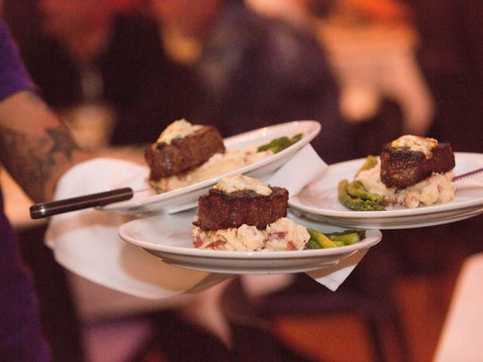 Surf and turf at The Purple Room Restaurant and Stage includes this dish of filet topped with shrimp.