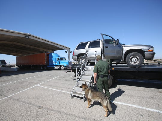 Drug sniffing dogs are used to detect contraband at a Border Patrol checkpoint on the 86 Expressway Highway near Salton City. These dogs can help detect drugs that have already been introduced into the United States.