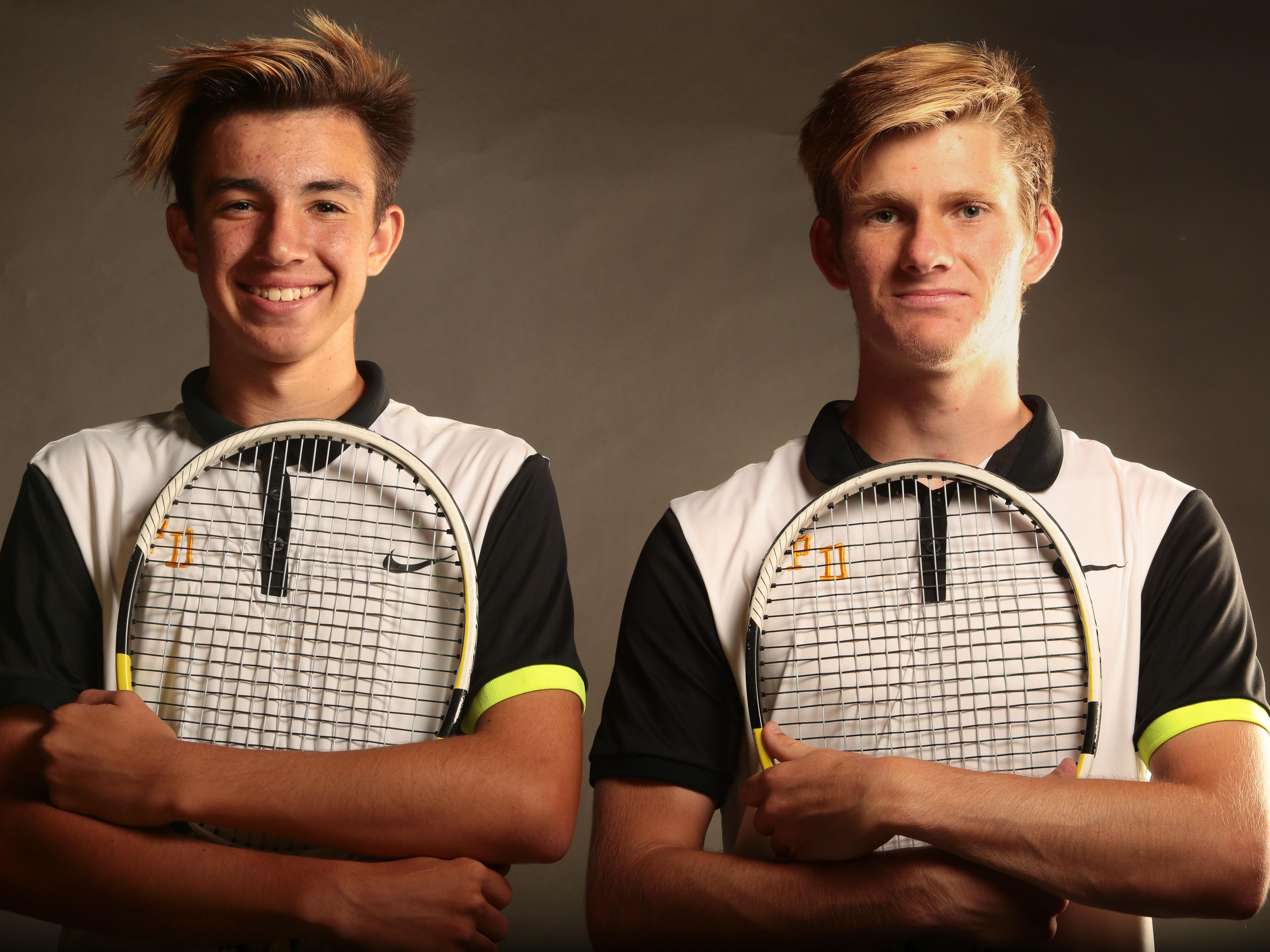 Palm Desert tennis doubles players Alex Kuperstein and Brad Cummings, right, are the Desert Sun male tennis players of the year.