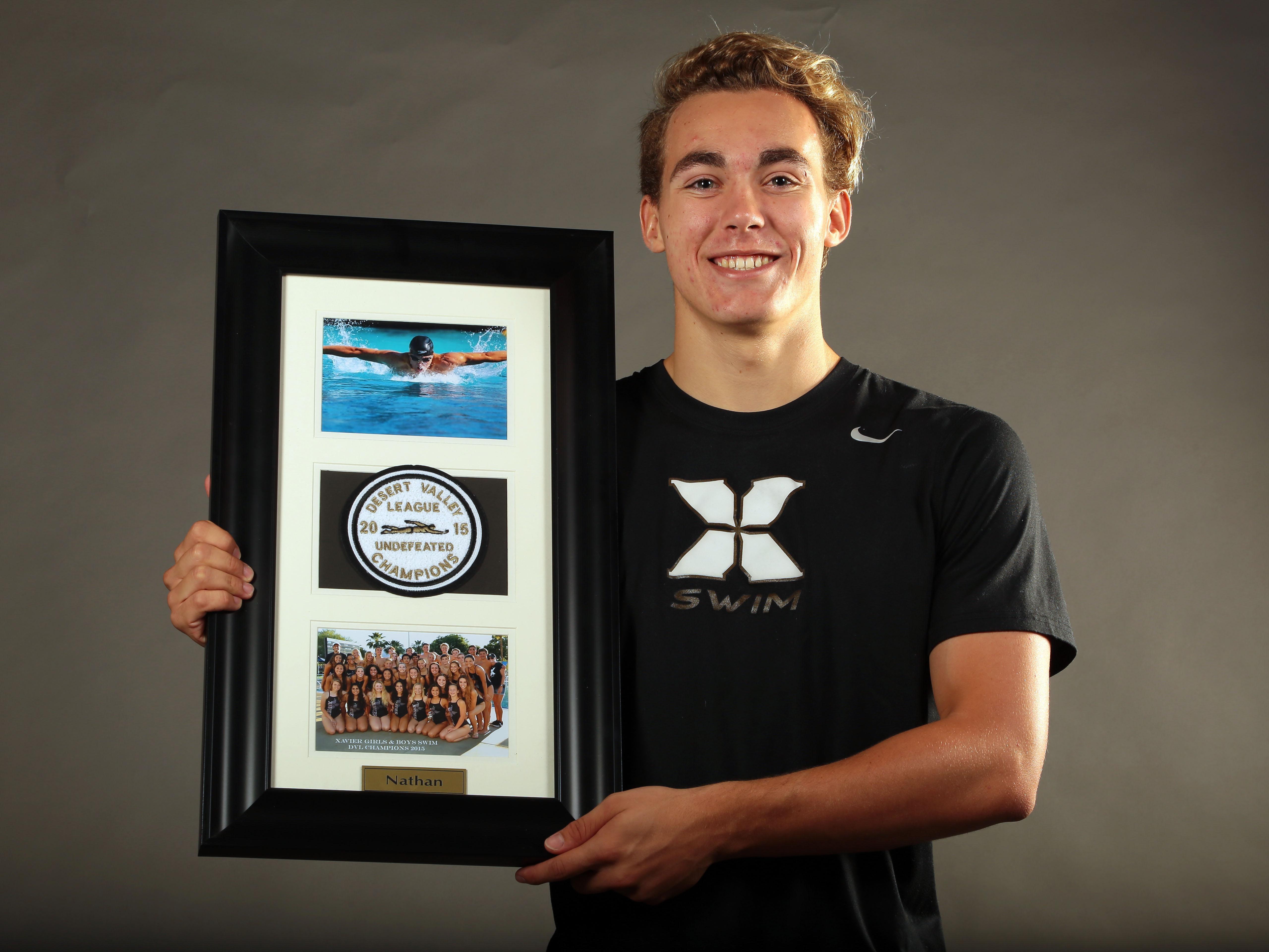 Xavier College Prep. swim star Nathan Salmon on Wednesday, at the Desert Sun Studio in Palm Springs.